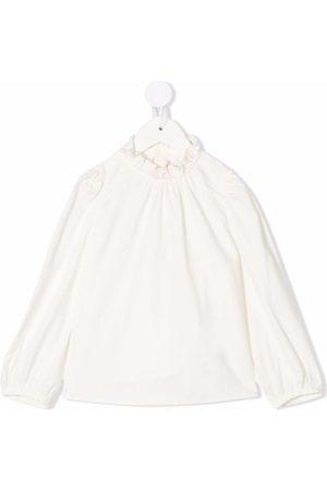 BONPOINT Girls Blouses - Ruffle-collar long-sleeved blouse - Neutrals