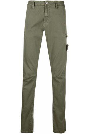 Stone Island Men Straight Leg Pants - Logo-patch straight-leg trousers