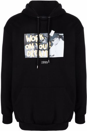 Throwback. Graphic-print cotton hoodie