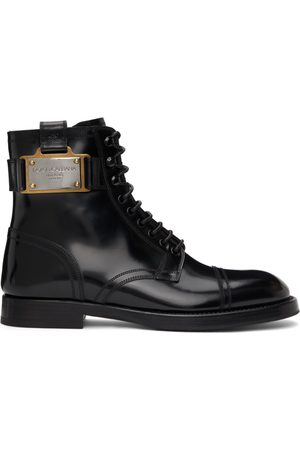 Dolce & Gabbana Black Branded Plate Boots