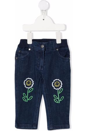 Stella McCartney Floral-embroidered denim trousers