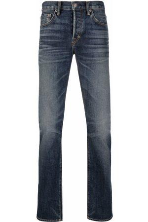 Tom Ford Men Straight - Mid-rise whiskered straight-leg jeans