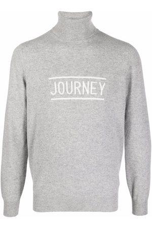 Brunello Cucinelli Men Turtlenecks - Logo-print roll neck jumper - Grey