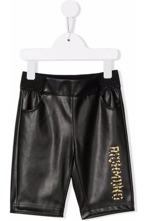 John Richmond Junior Girls Leather Pants - Logo-print faux-leather trousers