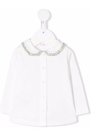 Il gufo Ruffle-collar cotton cardigan
