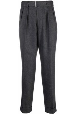OFFICINE GENERALE Tapered tailored-leg trousers - Grey