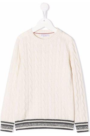 Brunello Cucinelli Boys Beanies - Cable-knit cashmere beanie - Neutrals