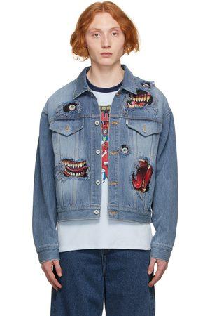 DOUBLET Men Denim Jackets - Blue Denim Graphic Print Jacket
