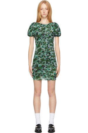 Ganni Women Printed Dresses - Green Mesh Floral Dress