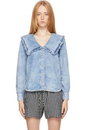 Ganni Women Denim - Blue Lightweight Denim Shirt