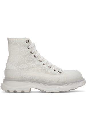 Alexander McQueen Men Sneakers - Off-White Print Tread Slick High-Top Sneakers
