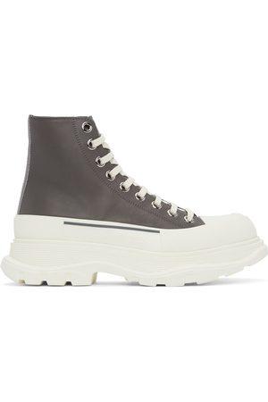 Alexander McQueen Men Sneakers - Grey Leather Tread Slick High Sneakers
