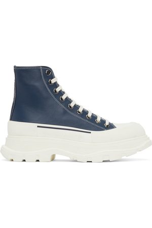 Alexander McQueen Men Sneakers - Navy Leather Tread Slick High Sneakers