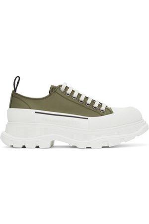 Alexander McQueen Khaki Satin Tread Slick Low Sneakers