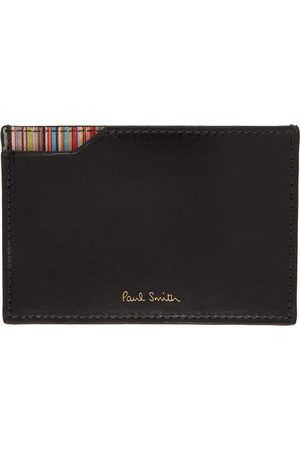 Paul Smith Black Signature Stripe Corner Card Holder