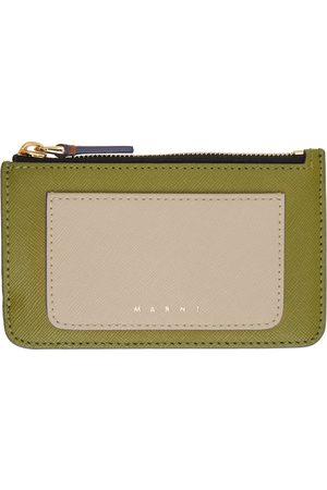 Marni Women Wallets - Beige & Green Saffiano Leather Zip Card Holder