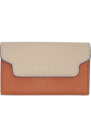 Marni Beige & Green Saffiano Leather Business Card Holder