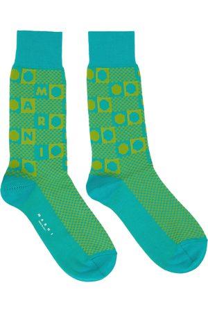 Marni Women Socks - Green Damier Jacquard Socks