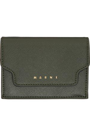 Marni Women Wallets - Green Saffiano Leather Trifold Wallet