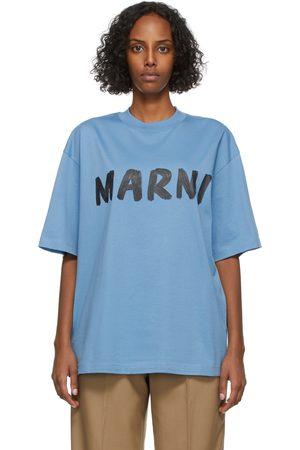 Marni Women T-shirts - Blue Lettering Logo T-Shirt