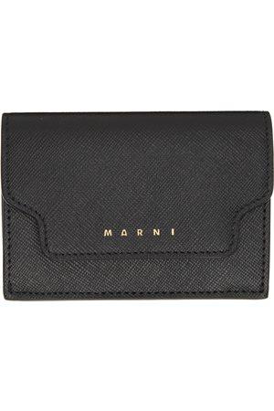 Marni Women Wallets - Black Saffiano Leather Trifold Wallet