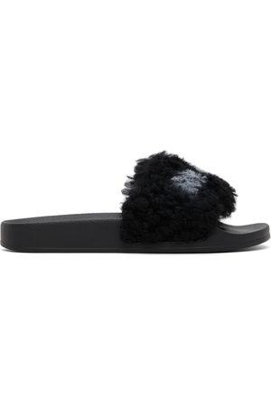 Marni Black Furry Slides