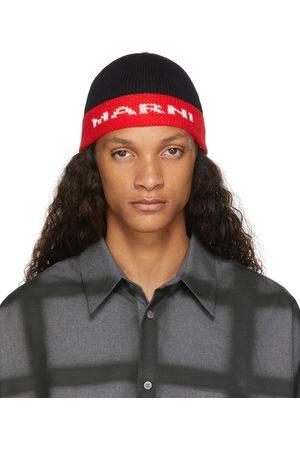 Marni Men Beanies - Black & Red Jacquard Logo Beanie