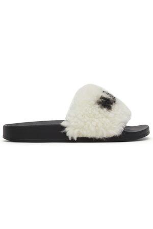 Marni White & Black Furry Slides