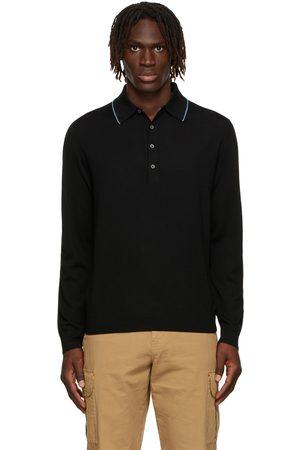 Paul Smith Men Polo Shirts - Black Pullover Long Sleeve Polo