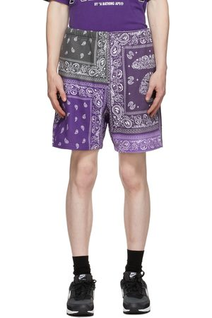 AAPE BY A BATHING APE Men Shorts - Purple Bandana Sweat Shorts