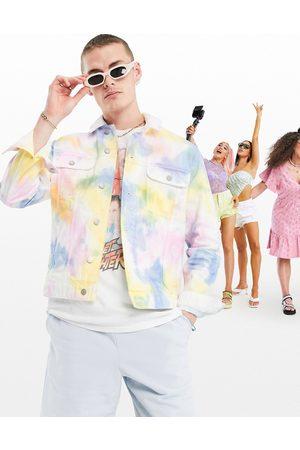 ASOS Tie dye denim jacket in rainbow wash-Blues