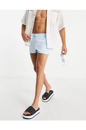 ASOS Swim shorts in pastel blue super short length-Blues