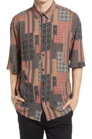 Topshop Men's Topman Bandana Print Short Sleeve Button-Up Shirt
