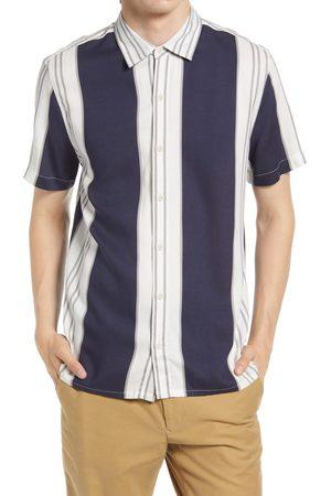 Topman Men's Vertical Stripe Short Sleeve Button-Up Shirt
