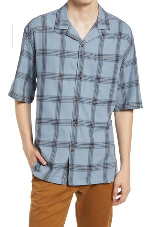 Topman Men's Boxy Check Short Sleeve Button-Up Camp Shirt