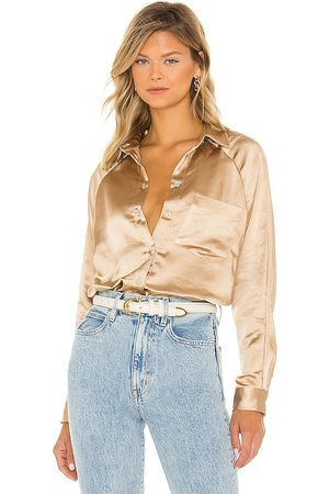 LINE & DOT Dolly Long Sleeve Button Up in Metallic .