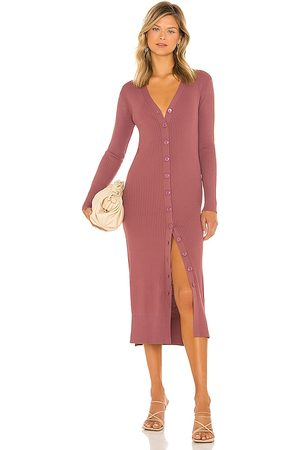LINE & DOT Women Casual Dresses - Simone Button Down Sweater Dress in Mauve.
