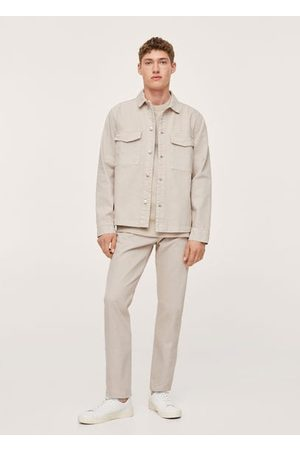 MANGO Men Denim Jackets - Pocket denim overshirt