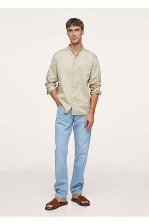 MANGO Relaxed cotton shirt with mandarin collar