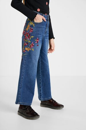 Desigual Girls Wide Leg - Wide leg embroidered jeans