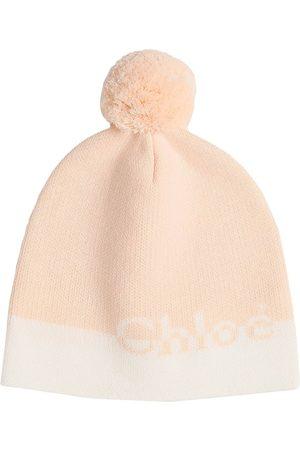 CHLOÉ Logo Cotton & Wool Hat W/ Pompom
