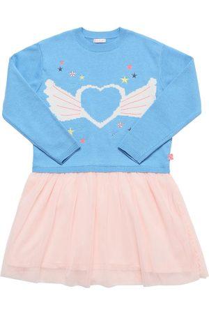 Billieblush Girls Knitted Dresses - Heart Knit & Glitter Tulle Dress