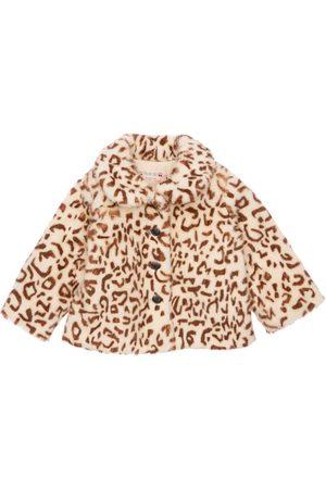 BONPOINT Girls Coats - Leo Print Faux Fur Coat
