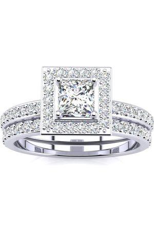 SuperJeweler Previously Owned 1 Carat Princess Cut Pave Halo Diamond Bridal Ring Set in 14k