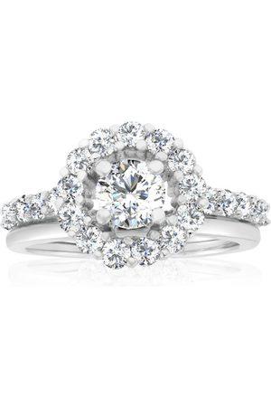 SuperJeweler Women Rings - Previously Owned 1.5 Carat Halo Diamond Bridal Ring Set in 14K