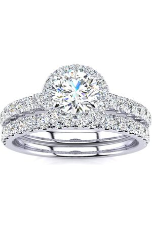 SuperJeweler Women Rings - Previously Owned 1 Carat Floating Pave Halo Diamond Bridal Ring Set in 14k (5.5 g)