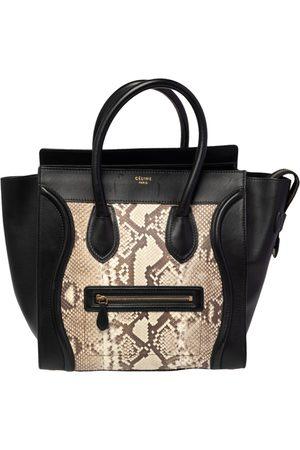 Céline Women Purses - Céline /Beige Python and Leather Mini Luggage Tote
