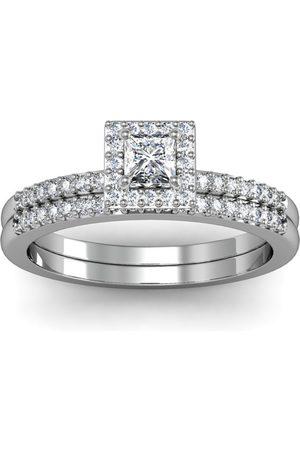 SuperJeweler Women Rings - Previously Owned 1/2 Carat Princess Cut Pave Halo Diamond Bridal Ring Set in 14k