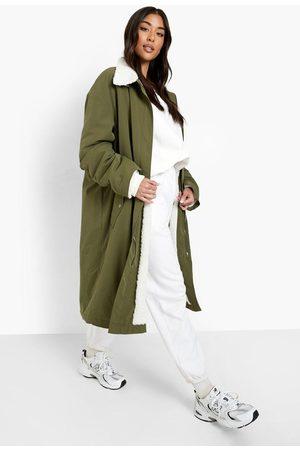 Boohoo Women Fleece Jackets - Womens Teddy Trim Parka - - 4