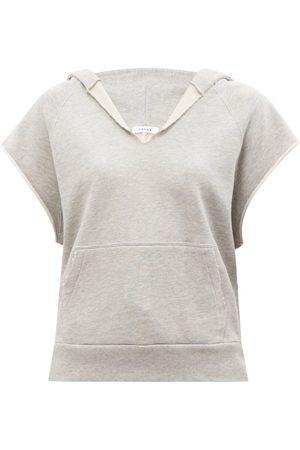Frame Women Sweats - Sleeveless Hooded Cotton-jersey Sweatshirt - Womens - Mid Grey